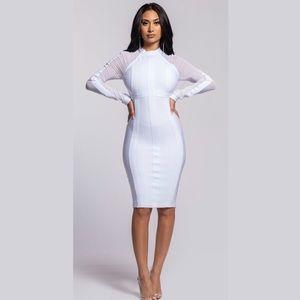 Long Sheer Sleeve Bandage Bodycon Dress